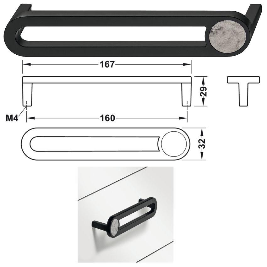 Häfele Design Model H2170 matt schwarz, Einlage: Marmoroptik