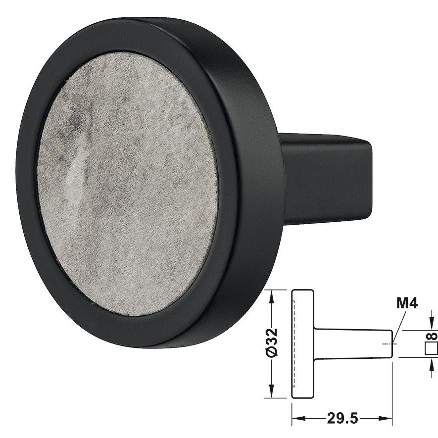 Häfele Möbelknopf Design Model H2170 matt schwarz, Einlage: Marmoroptik