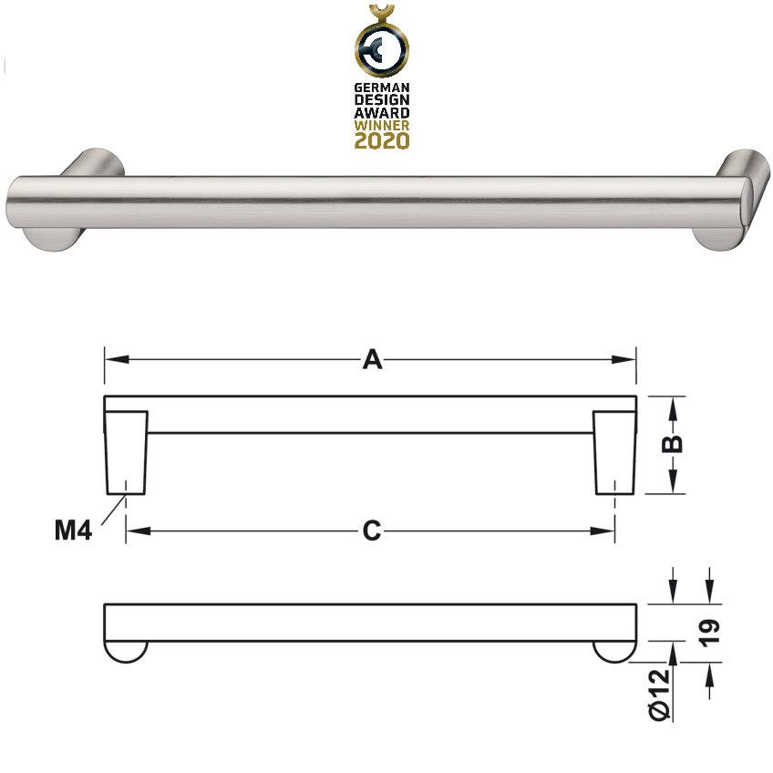 Häfele Design Modell H2120 d=12 mm vernickelt gebürstet 143x32 mm