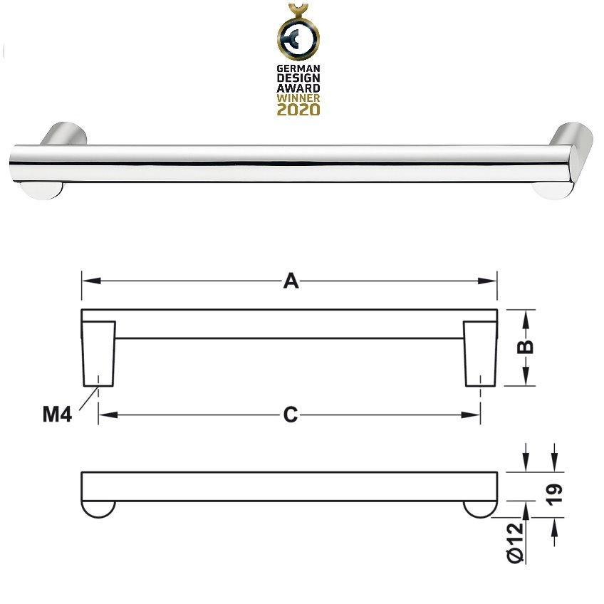 Häfele Design Modell H2120 d=12 mm verchromt poliert 143x32 mm