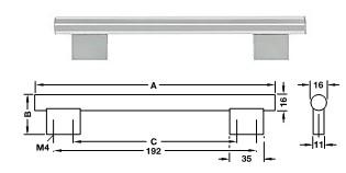 Möbelgriff Glas, <b>klar</b> Sockel Zinkdruckguss, verchromt poliert <b>C=160 mm</b>