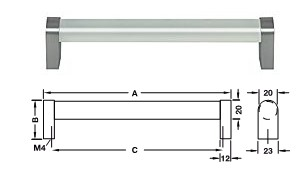 Möbelgriff Glas, <b>matt</b> Sockel Zinkdruckguss, edelstahlfarben <b>C=160 mm</b>