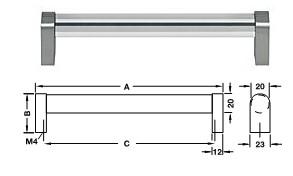 Möbelgriff Glas, <b>klar</b> Sockel Zinkdruckguss, edelstahlfarben <b>C=160 mm</b>