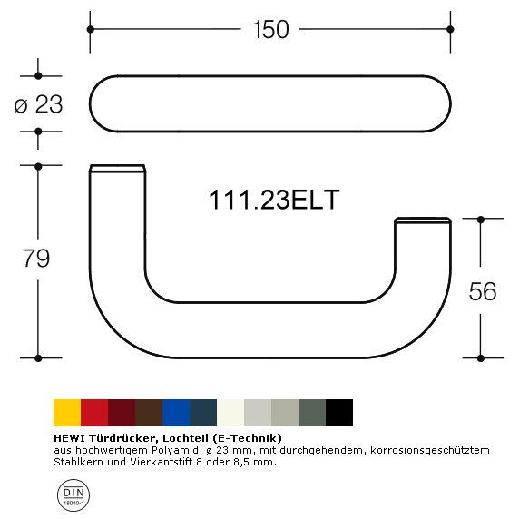 HEWI 111.23ELT 98 Türdrückerlochteil, ø23mm, E-Technik, signalweiß, VK8