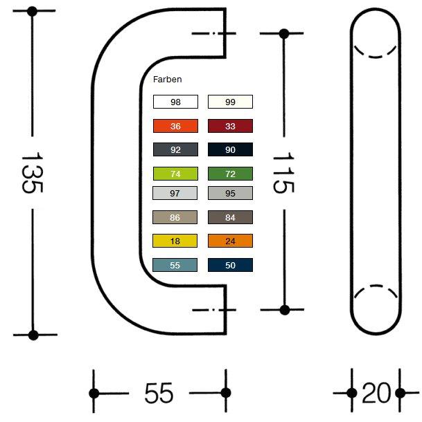 Möbelgriff 111G.6 ø 20 mm durchgefärbtem Polyamid mit BA 6 92 anthrazitgrau