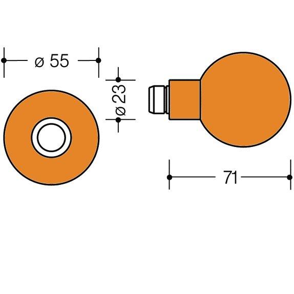 HEWI 111K.33 Knopf feststehend 123.23/305.23 24 orange