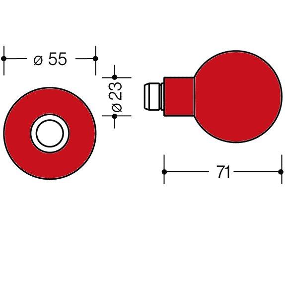 HEWI 111K.33 Knopf feststehend 123.23/305.23 33 rubinrot