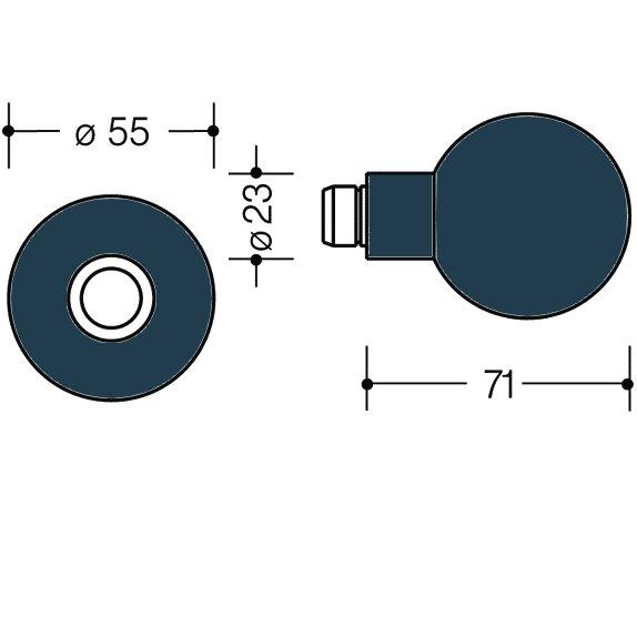 HEWI 111K.33 Knopf feststehend 123.23/305.23 50 stahlblau