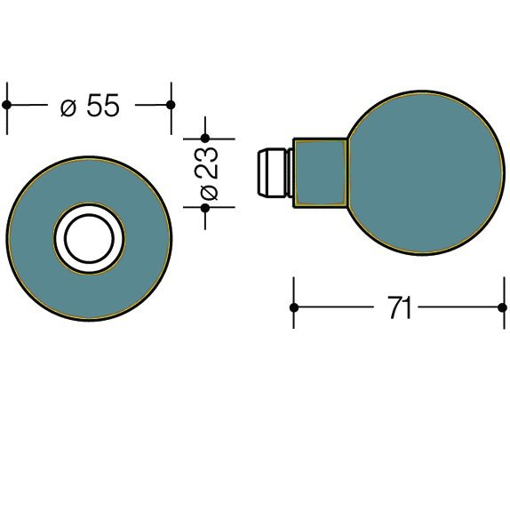 HEWI 111K.33 Knopf feststehend 123.23/305.23 55 aquablau
