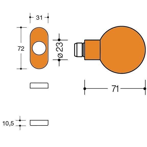 HEWI 111K.43 24 Knopf feststehend 123.23/315.23 orange