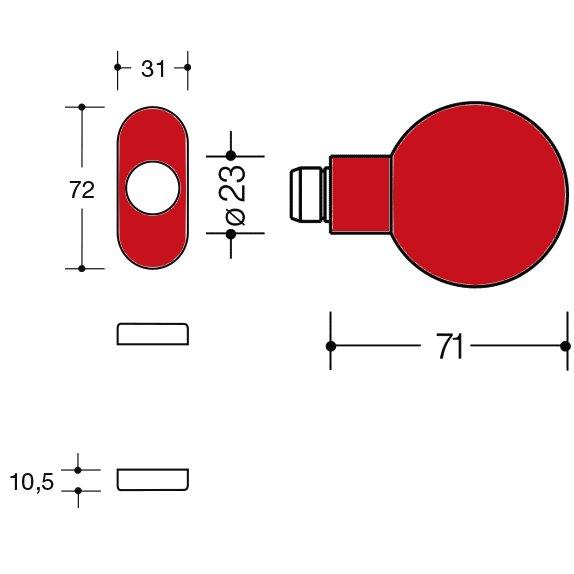 HEWI 111K.43 33 Knopf feststehend 123.23/315.23 rubinrot