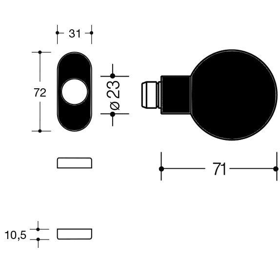 HEWI 111K.43 90 Knopf feststehend 123.23/315.23 tiefschwarz