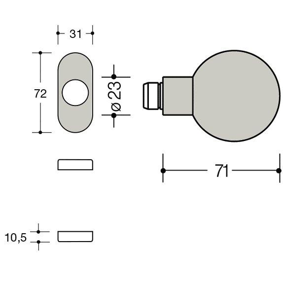 HEWI 111K.43 97 Knopf feststehend 123.23/315.23 lichtgrau