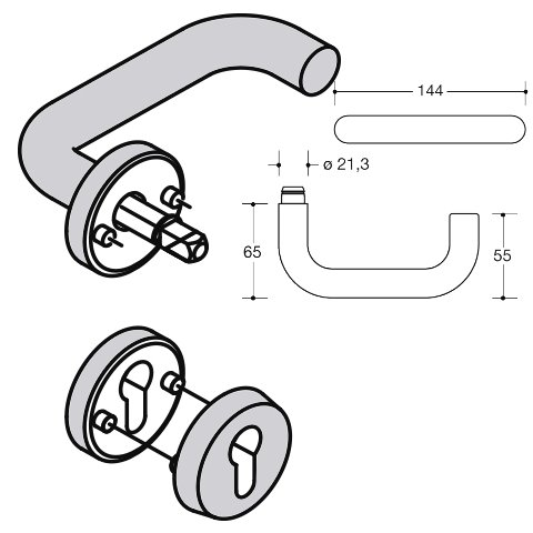 HEWI 111XAH22.130 Edelstahl Haustürhalbgarnitur mit Schutzrosette