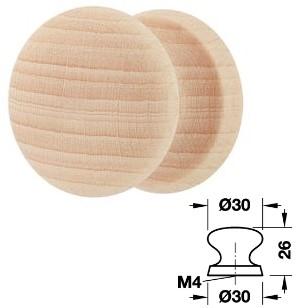 Holz Möbelknopf HE196.54 <b> Buche hell natur</b> 30x26 mm