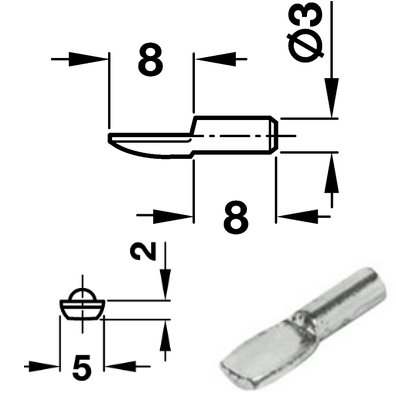 100 Stück Bodentraeger Stahl vernickelt 3mm