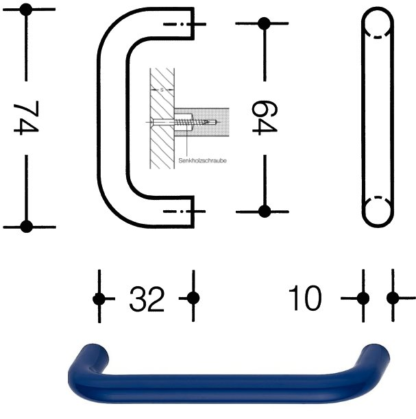 HEWI 548.74.50 Möbelgriff für BA3 ø 10 mm 64 mm stahlblau