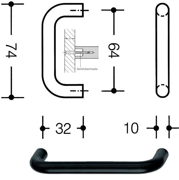 HEWI 548.74.92 Möbelgriff für BA3 ø 10 mm 64 mm anthrazitgrau