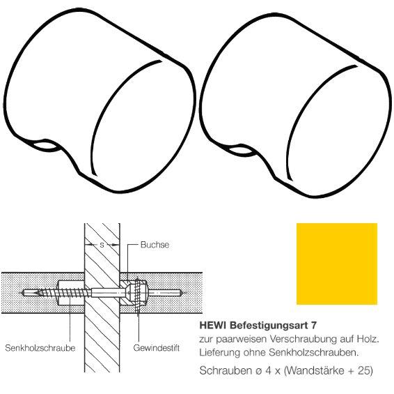 Paar HEWI 557.55.7.13 Möbelknopf für BA7, ø55mm, rapsgelb