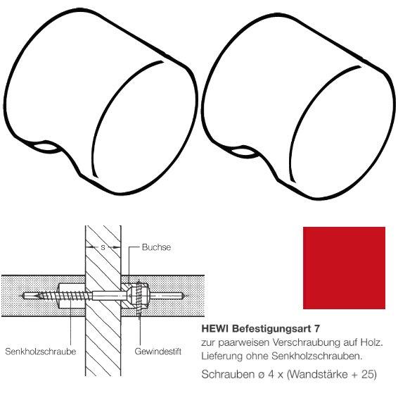 Paar HEWI 557.55.7.33 Möbelknopf für BA7, ø55mm, rubinrot
