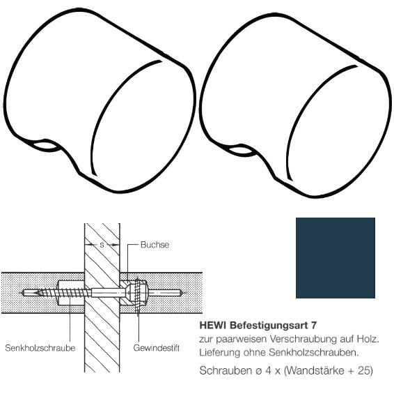 Paar HEWI 557.55.7.50 Möbelknopf für BA7, ø55mm, stahlblau