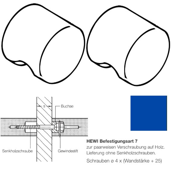 Paar HEWI 557.55.7.53 Möbelknopf für BA7, ø55mm, ultramarinblau
