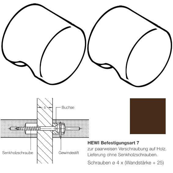 Paar HEWI 557.55.7.80 Möbelknopf für BA7, ø55mm, kaffeebraun