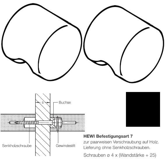 Paar HEWI 557.55.7.90 Möbelknopf für BA7, ø55mm, tiefschwarz