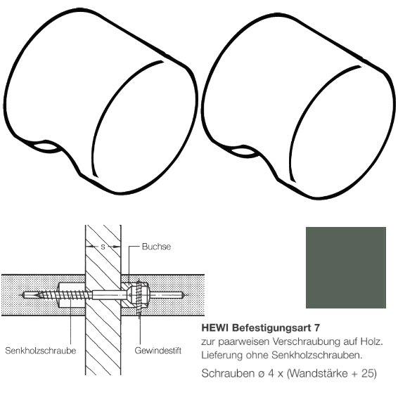 Paar HEWI 557.55.7.92 Möbelknopf für BA7, ø55mm, anthrazitgrau