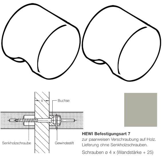 Paar HEWI 557.55.7.95 Möbelknopf für BA7, ø55mm, felsgrau