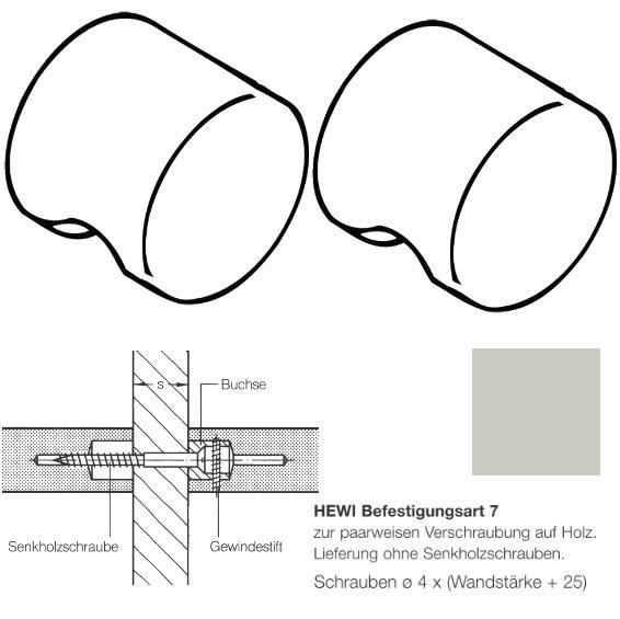 Paar HEWI 557.55.7.97 Möbelknopf für BA7, ø55mm, lichtgrau