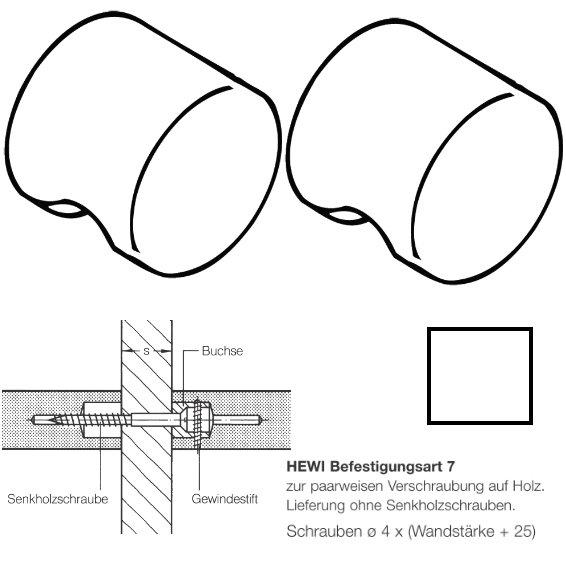 Paar HEWI 557.55.7.99 Möbelknopf für BA7, ø55mm, reinweiß