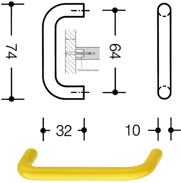 HEWI 548.74.18 Möbelgriff für BA3 ø 10 mm 64 mm senfgelb