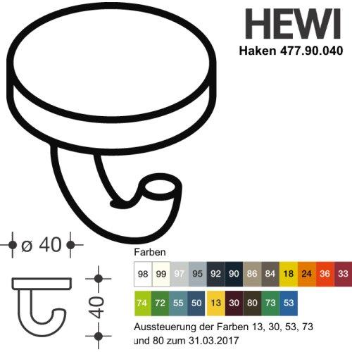 HEWI 477.90.040 99 Haken Serie 477 d:40mm als Unterkopfhaken reinweiß