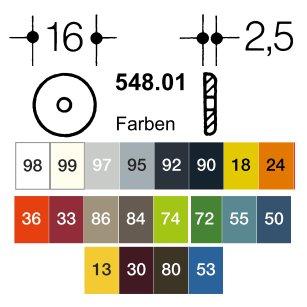 HEWI 548.01.18 2 Stück Rosettenfußscheiben für Möbelgriffe senfgelb