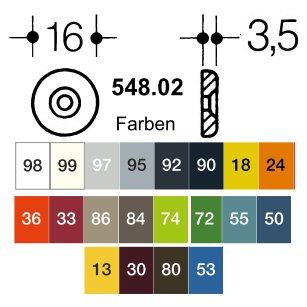 HEWI 548.02 18 Gegenscheiben f. Griff 548 u. 548rd. ø16mm senfgelb