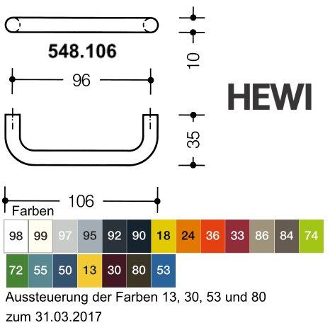 HEWI Möbelgriff 548.106.18 ø 10 mm für BA3 senfgelb