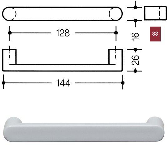 HEWI 548.17.128 33 Möbelgriff für BA3 a=128mm ø16mm rubinrot