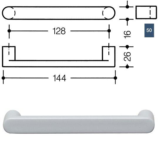 HEWI 548.17.128 50 Möbelgriff für BA3 a=128mm ø16mm stahlblau