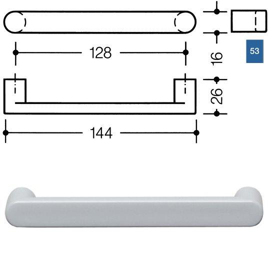 HEWI 548.17.128 53 Möbelgriff für BA3 a=128mm ø16mm ultramarinblau