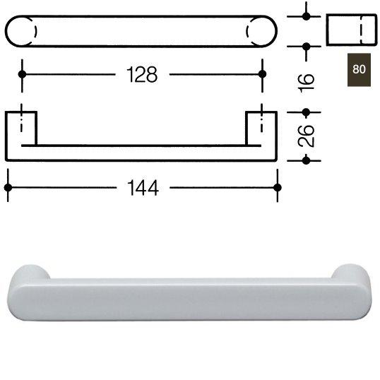 HEWI 548.17.128 80 Möbelgriff für BA3 a=128mm ø16mm kaffeebraun