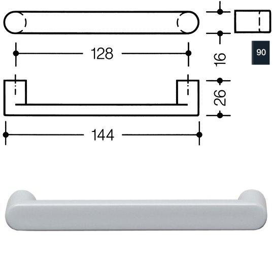 HEWI 548.17.128 90 Möbelgriff für BA3 a=128mm ø16mm tiefschwarz