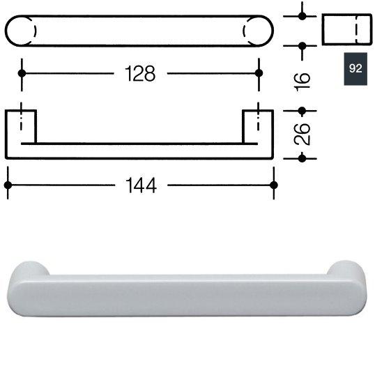 HEWI 548.17.128 92 Möbelgriff für BA3 a=128mm ø16mm anthrazitgrau
