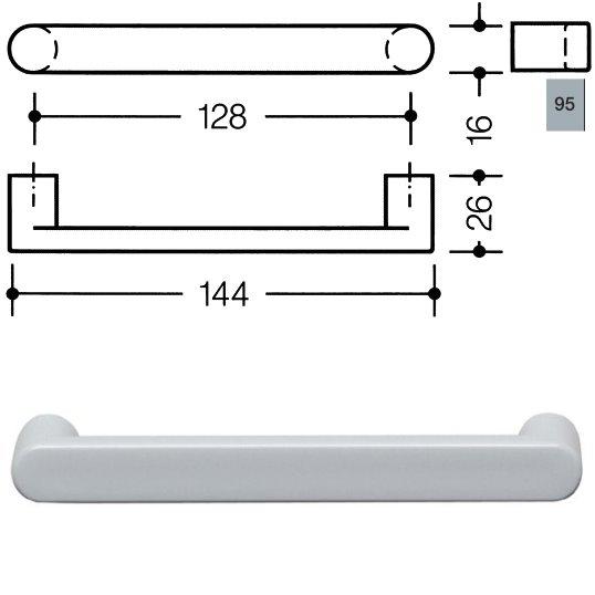 HEWI 548.17.128 95 Möbelgriff für BA3 a=128mm ø16mm felsgrau