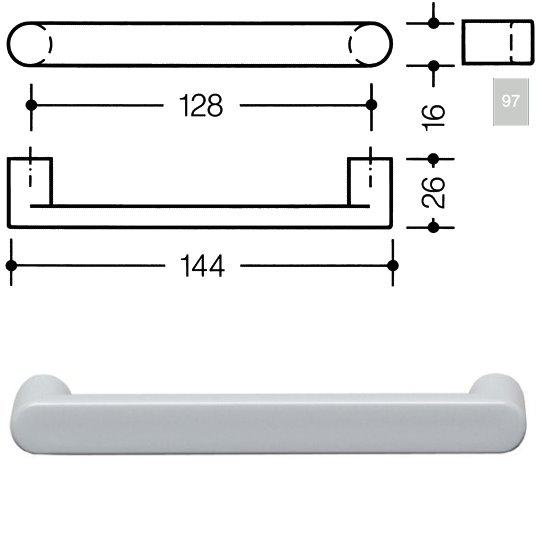 HEWI 548.17.128 97 Möbelgriff für BA3 a=128mm ø16mm lichtgrau