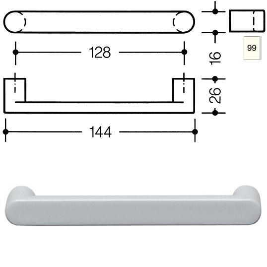 HEWI 548.17.128 99 Möbelgriff für BA3 a=128mm ø16mm reinweiß