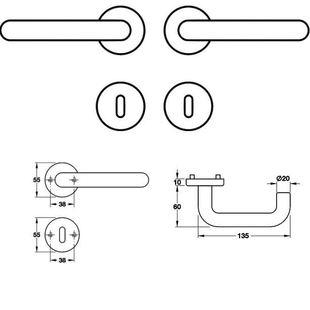 <b>BB </b> Polyamid Türdrücker Rosettengarnitur K94.20 TW R <b>blau</b>