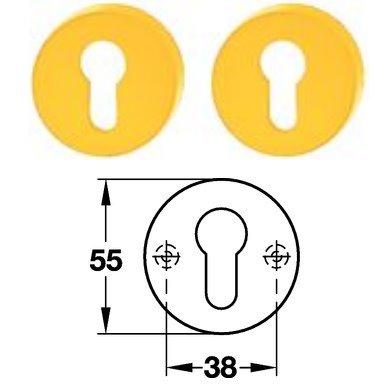 Hewi 306.23 Paar PZ Schlüsselrosette 18 senfgelb