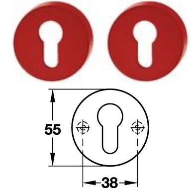 Hewi 306.23 Paar PZ Schlüsselrosette 33 rubinrot