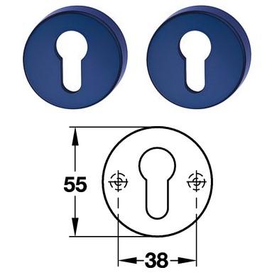 Hewi 306.23 Paar PZ Schlüsselrosette 50 stahlblau